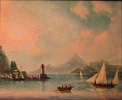 Морской пролив с маяком. И.К.Айвазовский, (90х73, копия Н.Резник)