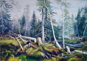Рубка леса. И.Шишкин, (копия 90х120 Н.Резник)