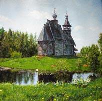 Деревянная церковь (30х30  Н. Резник)