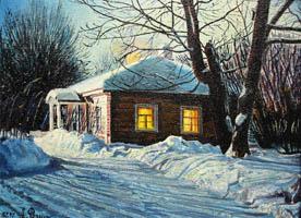 Зимний вечер. 30х40, Н.Резник