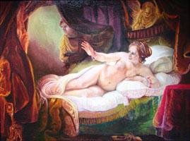 Даная Рембрандт. ( 50х46, копия Н.Резник  )