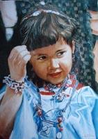 Портрет девочки (с открытки). (40х50  Н. Резник)
