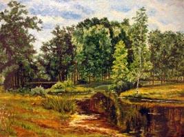 Пруд в старом парке. И. Шишкин, (35х50, копия Н.Резник)