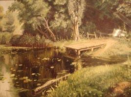 Заросший пруд. В. Поленов, (копия30х40 Н.Резник)