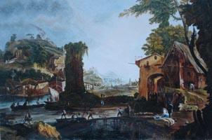 Пейзаж с рекой. Марко Риччи. (копия 40х60 Н.Резник)
