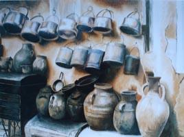 Натюрморт с кувшинами, открытка 30х400,0 копия, Н.Резник