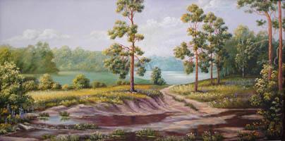 Сосны у реки. 40х80,  Н.Резник